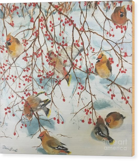 Birds And Berries Wood Print