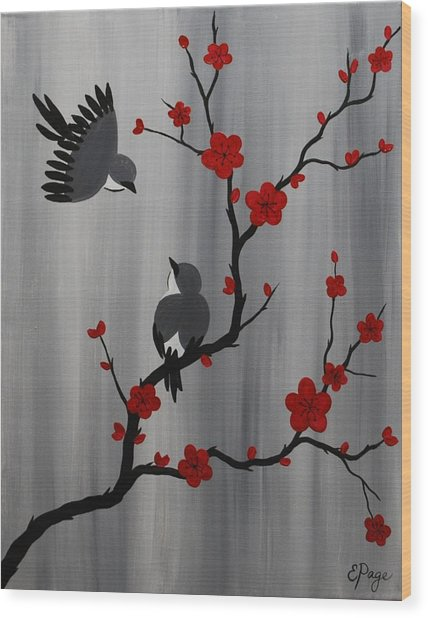 Birds And Blooms In Red Wood Print