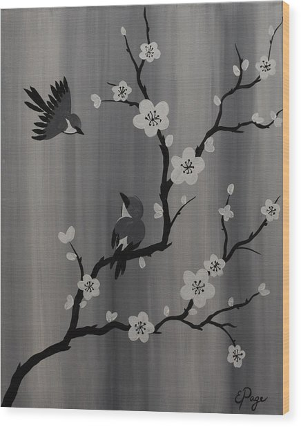 Birds And Blossoms Wood Print
