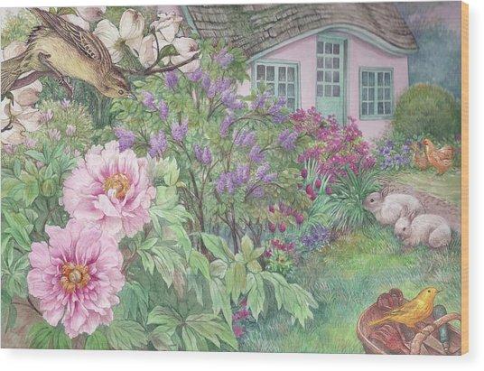 Birds And Bunnies In Cottage Garden Wood Print