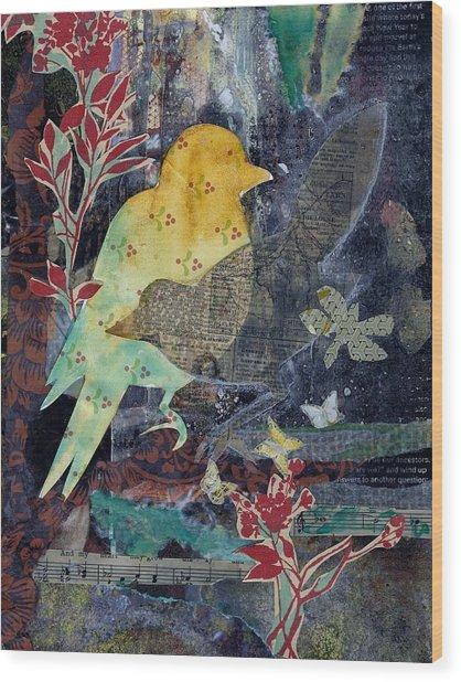 Birds And Butterflies Wood Print