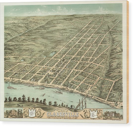 Bird's Eye View Of The City Of Clarksville, Montgomery County, Tennessee 1870 Wood Print