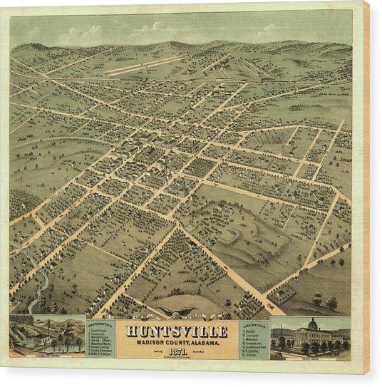 Bird's Eye View Of The City Of Huntsville, Madison County, Alabama 1871 Wood Print