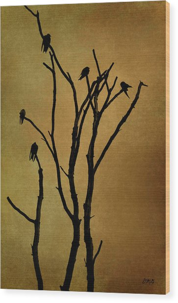 Birds In Tree Wood Print