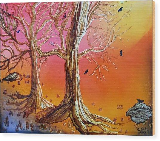 Birds In Trees Wood Print
