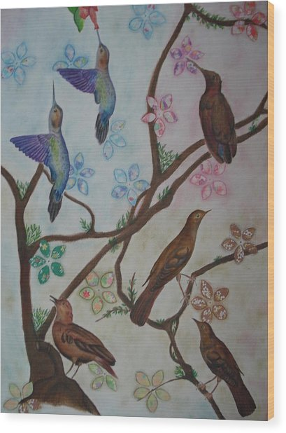 Birds Wood Print by Latha  Vasudevan