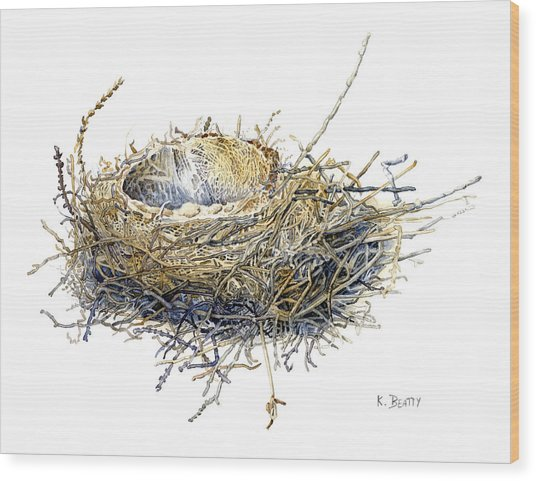 Bird's Nest Watercolor Painting Wood Print