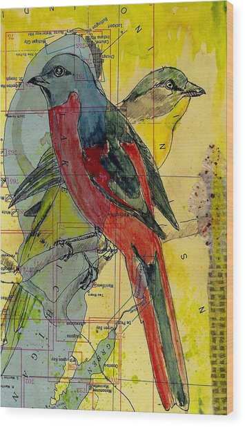 Birds On A Map Wood Print