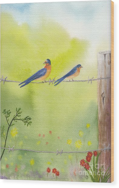 Birds On A Wire Barn Swallows Wood Print