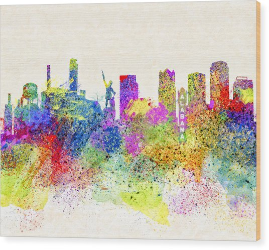 Wood Print featuring the digital art Birmingham Alabama Skyline Art by Mark E Tisdale