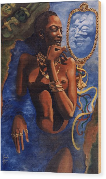 Birth Of Oshun Wood Print by Karmella Haynes