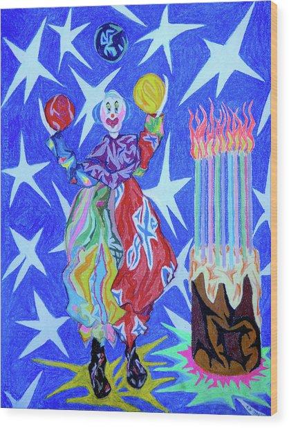 Birthday Clown Wood Print