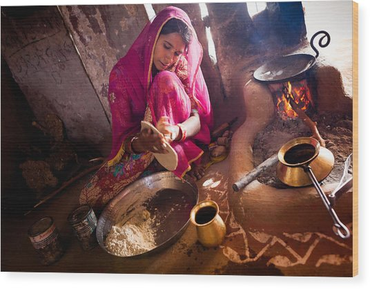 Bishnoi Kitchen Wood Print