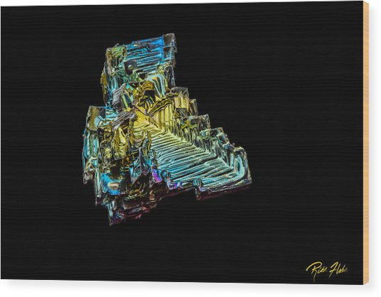 Bismuth Crystal Wood Print