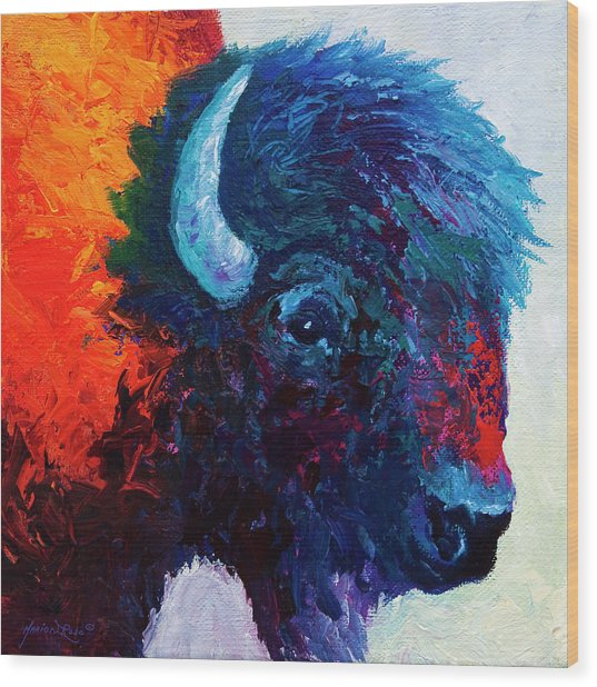 Bison Head Color Study I Wood Print