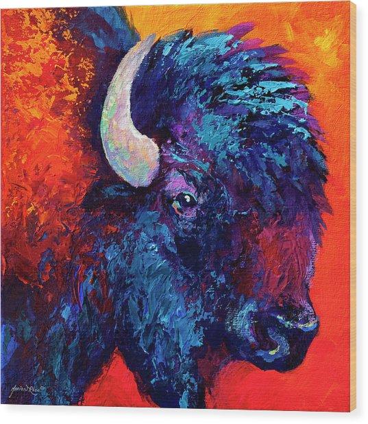 Bison Head Color Study II Wood Print