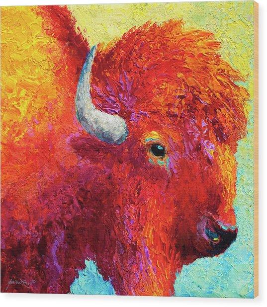 Bison Head Color Study Iv Wood Print