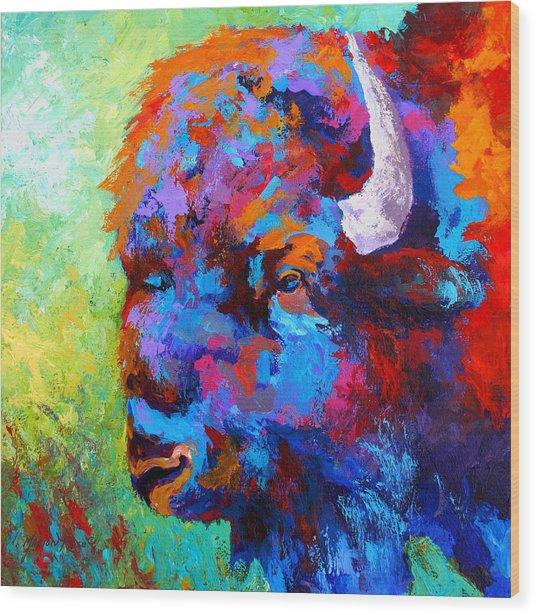 Bison Head II Wood Print