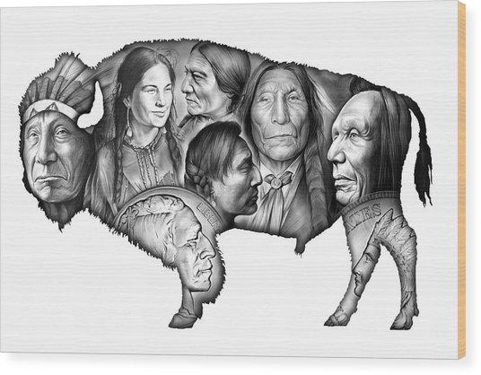 Bison Indian Montage Wood Print