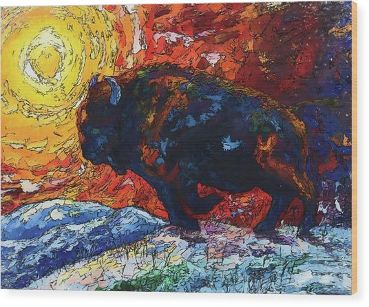 Bison Running Print Of Olena Art Wild The Storm Oil Painting With Palette Knife  Wood Print