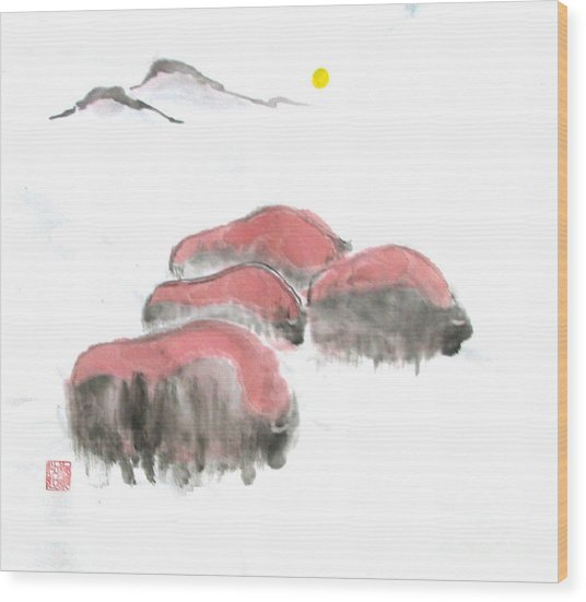 Bisons In Snow I Wood Print by Mui-Joo Wee