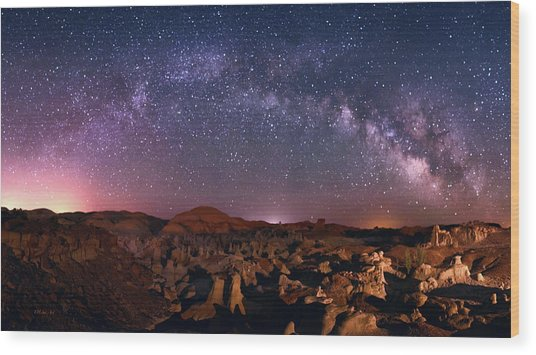 Bisti Badlands Night Sky - 2 Wood Print