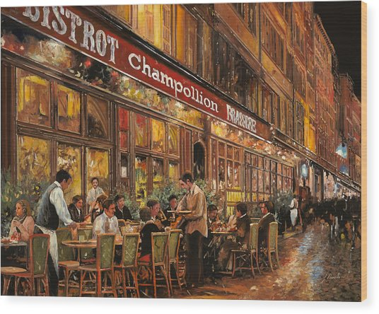 Bistrot Champollion Wood Print