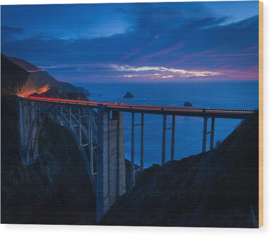 Bixby Canyon Bridge Sunset Wood Print