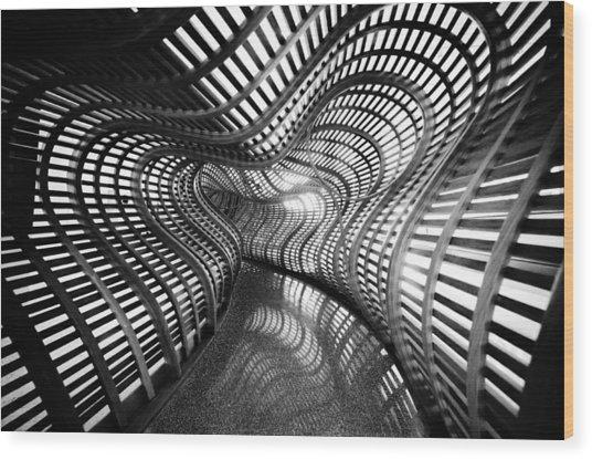 Black Abstract Hall Wood Print