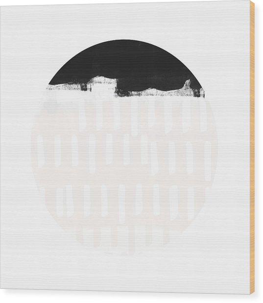 Black And Blush Abstract Circle 4- Art By Linda Woods Wood Print