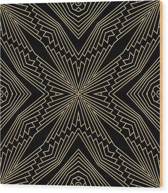 Black And Gold Art Deco Filigree 003 Wood Print