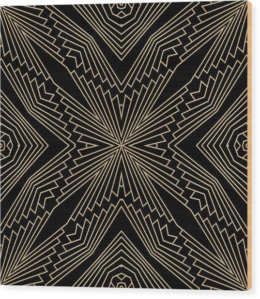 Black And Gold Art Deco Filigree 003 Wood Print