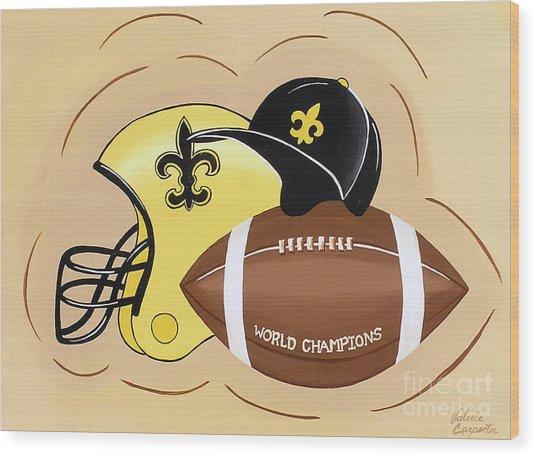 Black And Gold Champs Wood Print