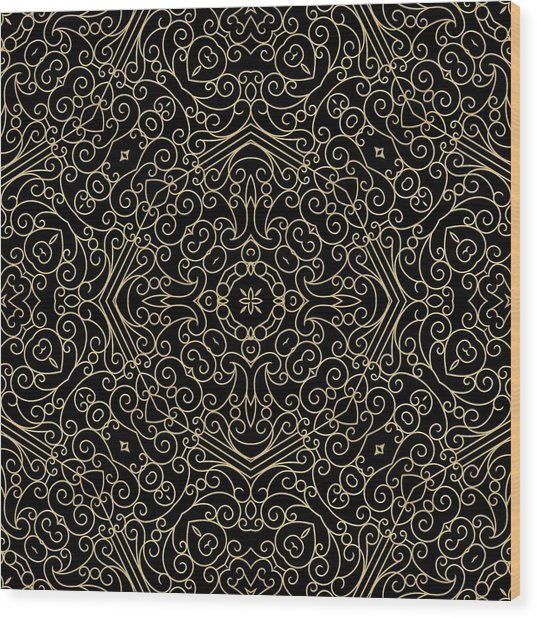 Black And Gold Filigree 002 Wood Print
