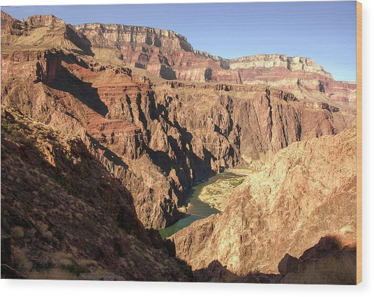Black And Silver Bridges Spanning The Colorado River  Grand Canyon National Park Wood Print