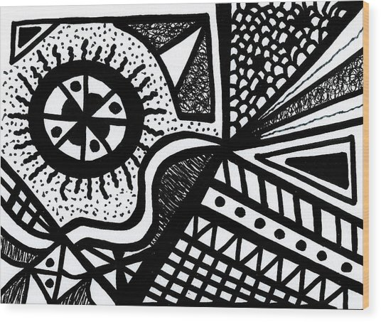 Black And White 14 Wood Print