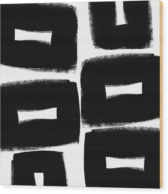 Black And White Abstract- Abstract Painting Wood Print