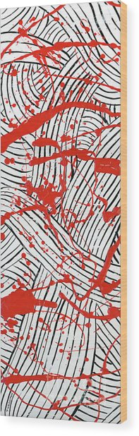 Black And White And Red All Over 1 Wood Print