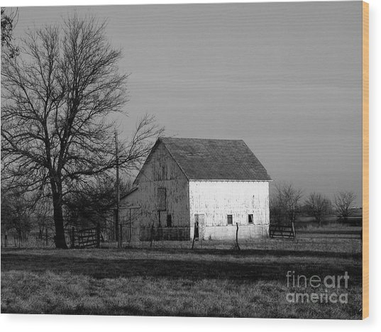 Black And White Barn Ll Wood Print by Michelle Hastings