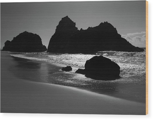 Black And White Big Sur Landscape Wood Print by Pierre Leclerc Photography