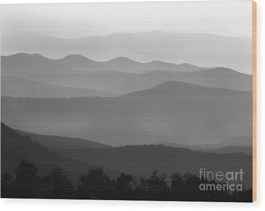 Black And White Blue Ridge Mountains Wood Print