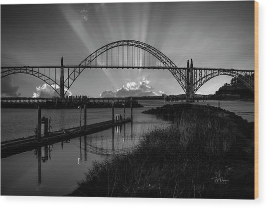 Black And White Bridge Wood Print