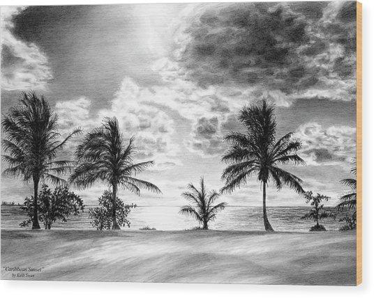 Black And White Caribbean Sunset Wood Print