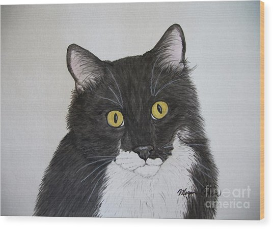 Black And White Cat Wood Print