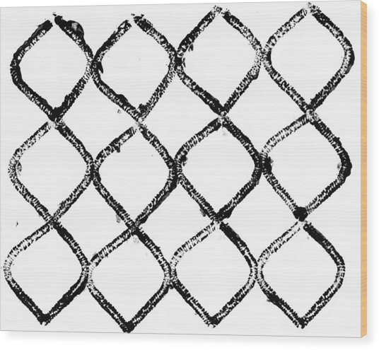 Black And White Chain Link Fence Wood Print by Gillham Studios