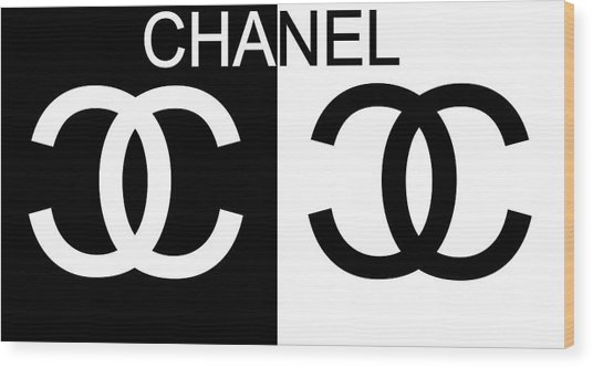 Black And White Chanel 2 Wood Print