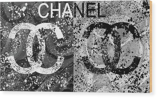 Black And White Chanel Art Wood Print