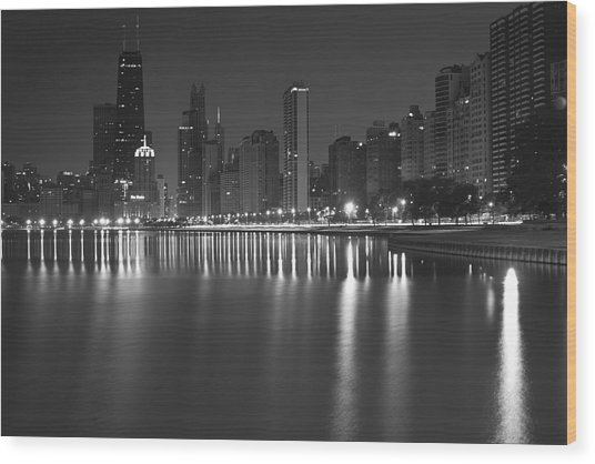 Black And White Chicago Skyline At Night Wood Print