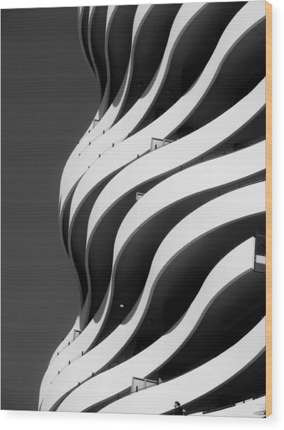 Black And White Concrete Waves Wood Print