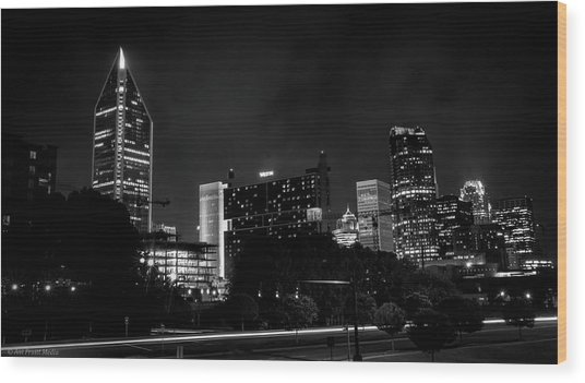 Black And White Downtown Wood Print